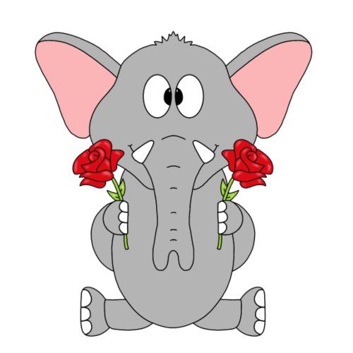Elefant - Rosen - Blumen - Männer Premium T-Shirt