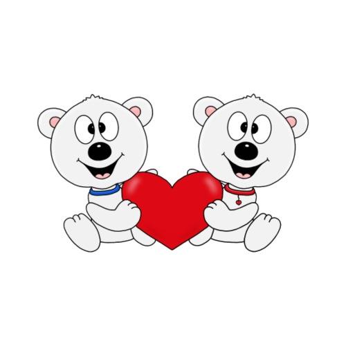 Lustige Eisbären - Herz - Liebe - Love - Fun - Männer Premium T-Shirt