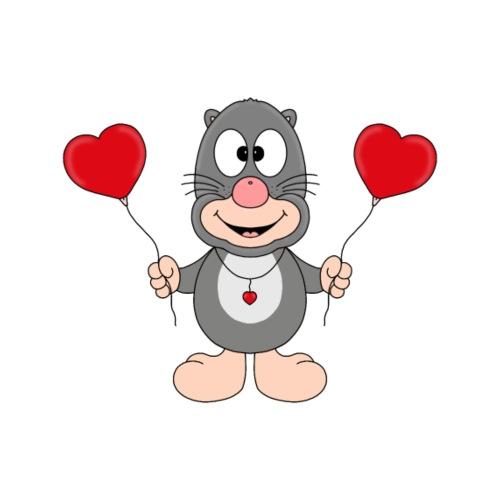 Lustiger Maulwurf - Luftballons - Herzen - Liebe - Männer Premium T-Shirt