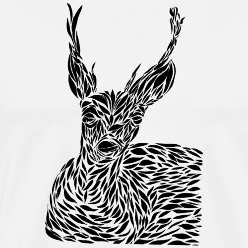 deer black and white - Miesten premium t-paita