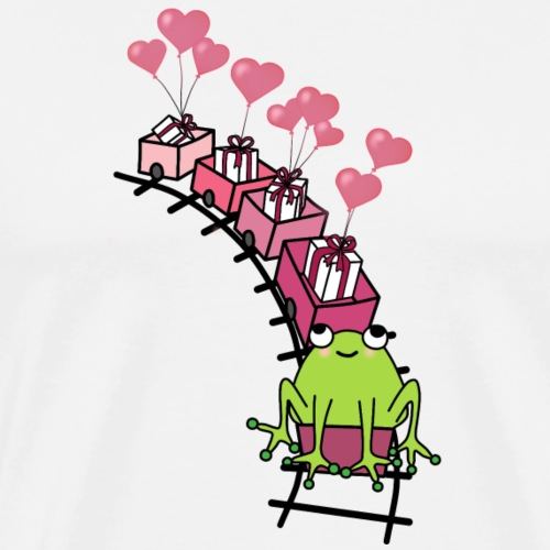 Frog on a train with presents and heart balloons - Men's Premium T-Shirt