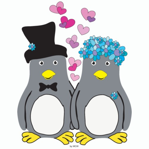 Pinguin Lovebirds - Männer Premium T-Shirt