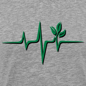 Vegan pulse, plant, frequency, heartbeat, beat, V - Men's Premium T-Shirt