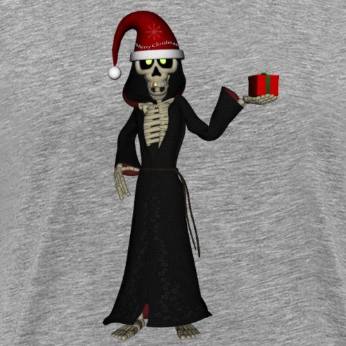 Divertido esqueleto con sombrero de Navidad y rega - Camiseta premium hombre