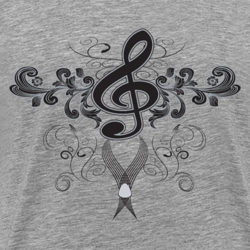 Clave de la música con elementos florales - Camiseta premium hombre