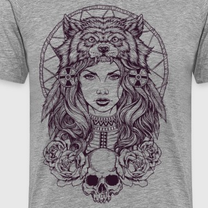 Native American Girl with wolfshoofddeksel - Mannen Premium T-shirt