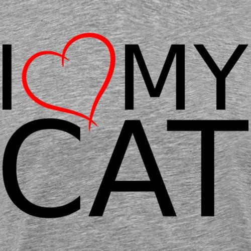 I LOVE MY CAT SCHWARZ - Männer Premium T-Shirt