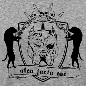 vicious dog and skull with shield - Men's Premium T-Shirt