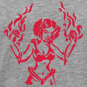 magicien Girl Power avec Flammenzauber RPG Fantaisie - T-shirt Premium Homme