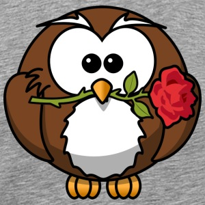 Valentine Owl med Rose Par Girlfriend - Premium T-skjorte for menn