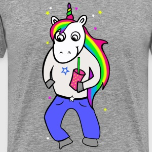 Unicorn disco with drink - Men's Premium T-Shirt
