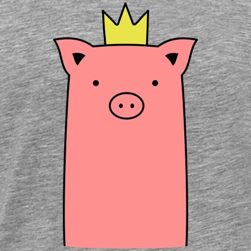 Rosa Schweinchen mit Krone - Männer Premium T-Shirt