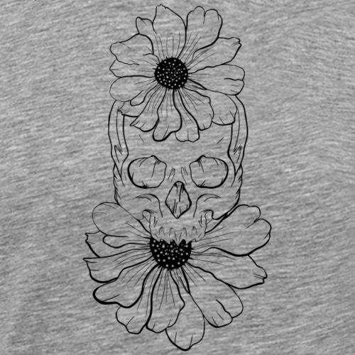 Flores y craneo - Camiseta premium hombre