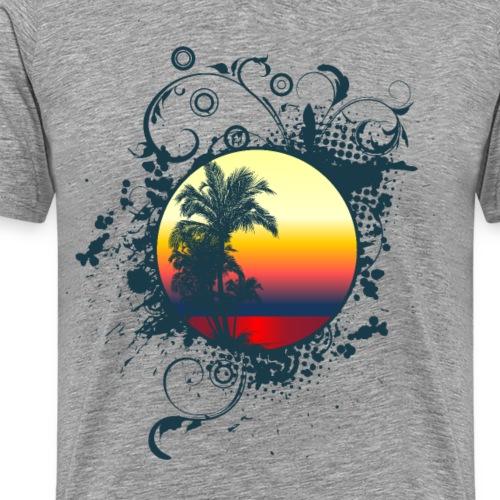 Sonnenuntergang Palmen ornament - Männer Premium T-Shirt