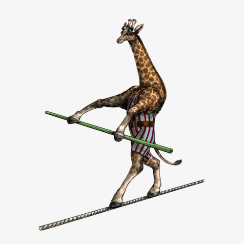 Giraffe Tightrope Walker - Men's Premium T-Shirt