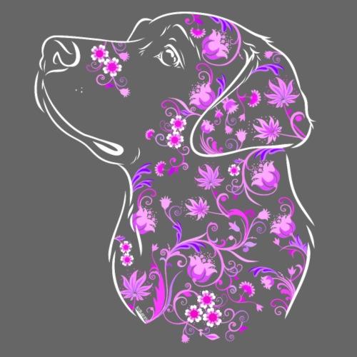 Labrador Flowers II - Miesten premium t-paita