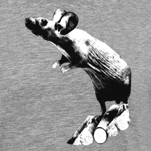 Seisova nakuhiiri - mustavalko - Miesten premium t-paita
