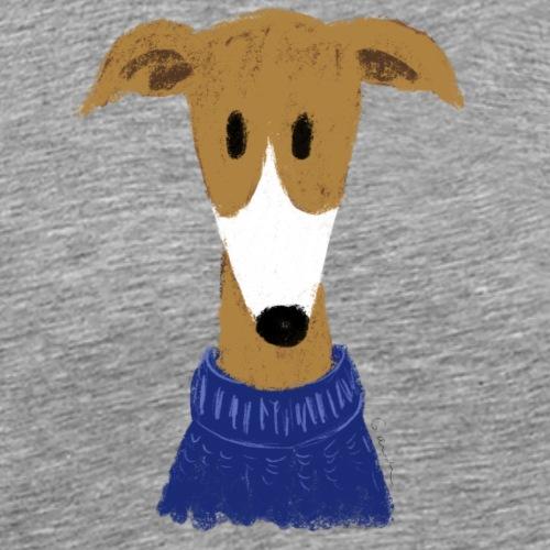 Windhund in blauem Pulli - Männer Premium T-Shirt