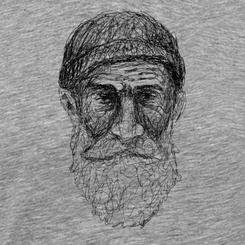 Bärtiger, alter Mann, Lineart - Männer Premium T-Shirt