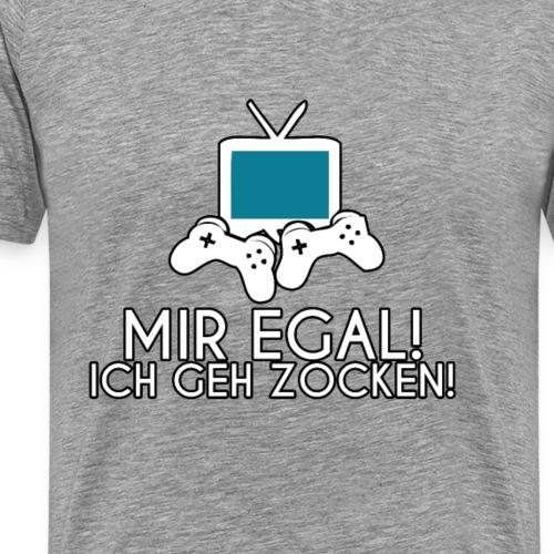 Gamer T-Shirt Mir Egal Ich Geh Zocken Nerd Design - Männer Premium T-Shirt