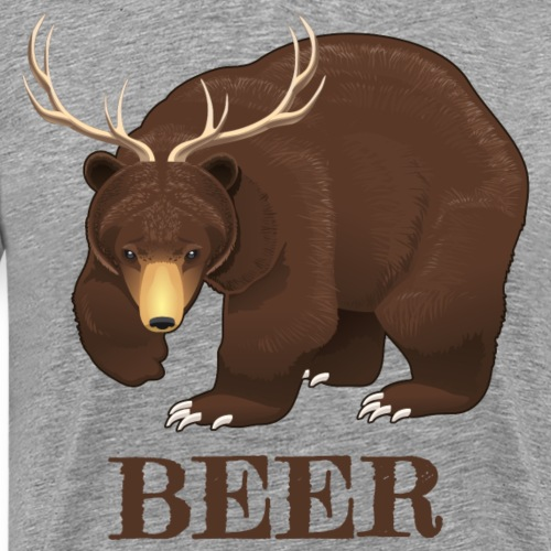 Beer Lover Gifts. Bear with Deer Antlers.Humourous - Men's Premium T-Shirt