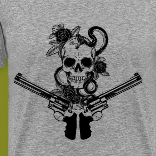 Totenkopf mit Pistolen