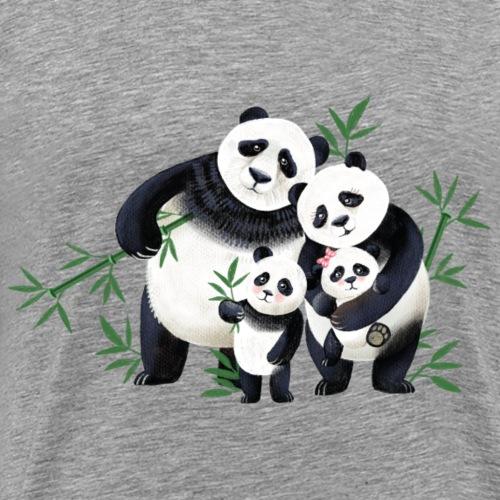 Pandafamilie zwei Kinder