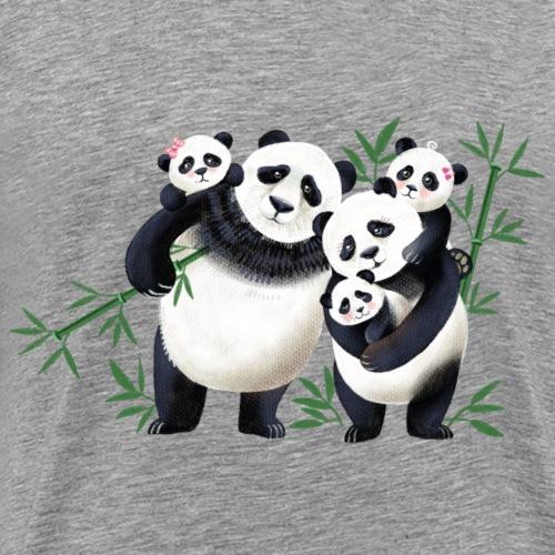 Pandafamilie drei Kinder - Männer Premium T-Shirt