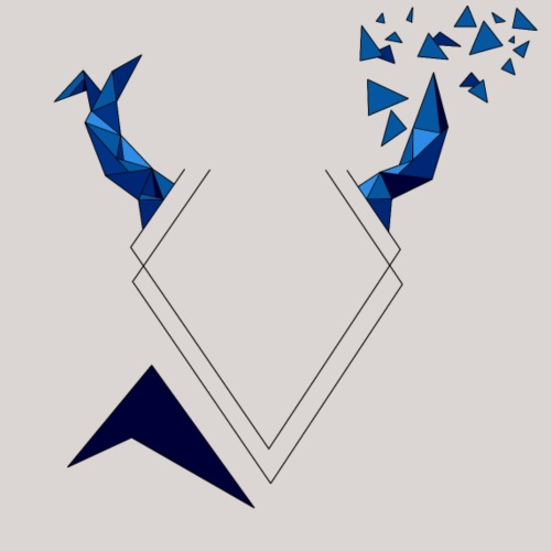 Cerf Triangulaire Bleu - T-shirt Premium Homme