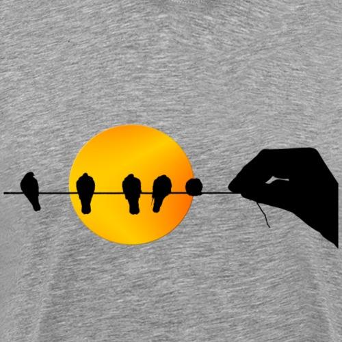 Una mano que sostiene pájaros. - Camiseta premium hombre