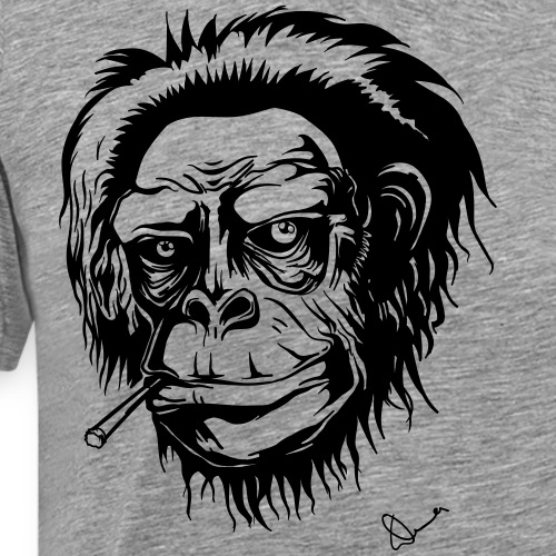 Mokey with a joint (black and white) - Men's Premium T-Shirt