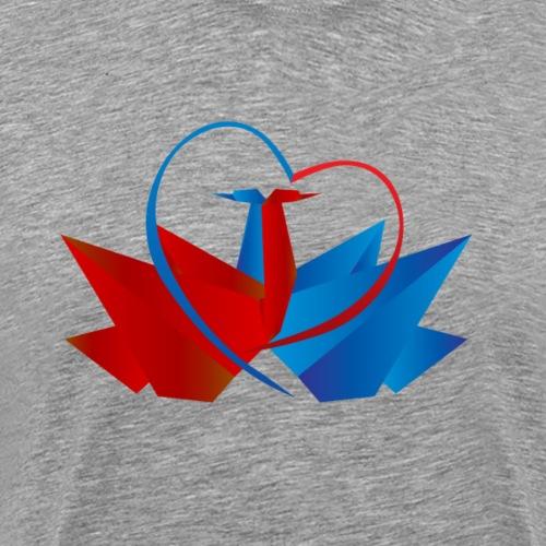 To svaner i kjærlighetst-skjorte