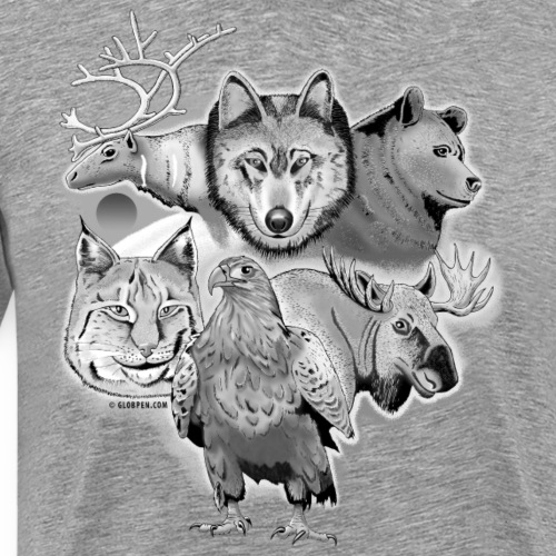 10-02 Susi, poro, karhu, ilves, kotka, hirvi-lahja - Miesten premium t-paita