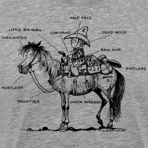 Thelwell Cartoon Bescheribung Westernpferd - Männer Premium T-Shirt