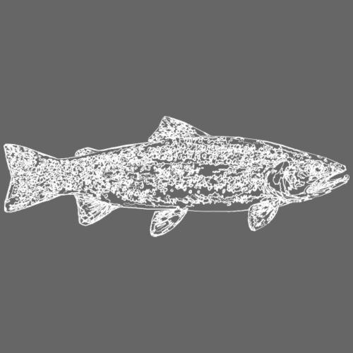 Line trout white - Miesten premium t-paita