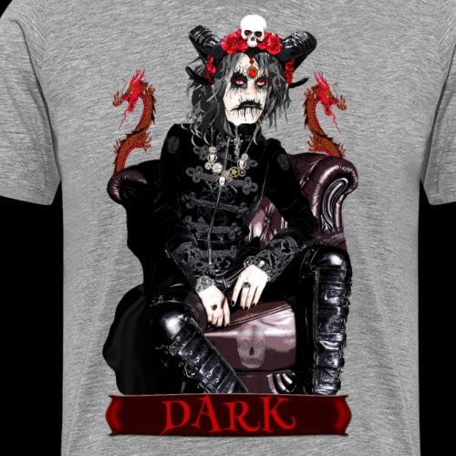 Créature gothique assise avec crânes et dragons