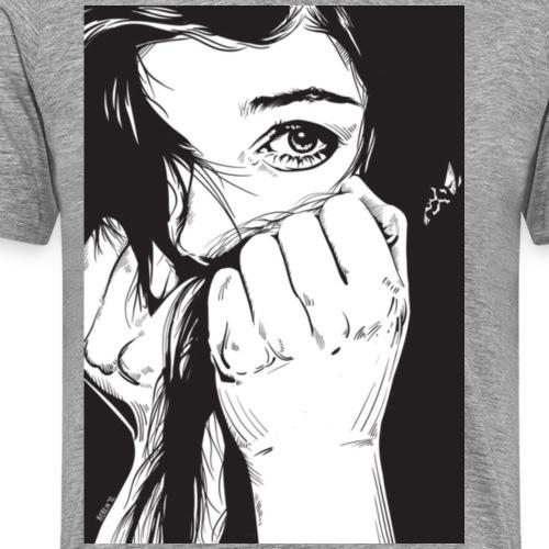 Frau Schwarz/Weiss Portrait - Männer Premium T-Shirt