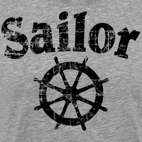 Sailor Wheel Segel Segeln Segler (Vintage/Schwarz) - Männer Premium T-Shirt