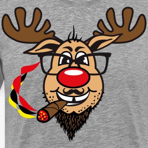 84 Hirsch Rudolph Bart Zigare Brille Humor Gag - Männer Premium T-Shirt