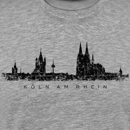 Köln am Rhein Kölner Skyline (Vintage Schwarz) - Männer Premium T-Shirt