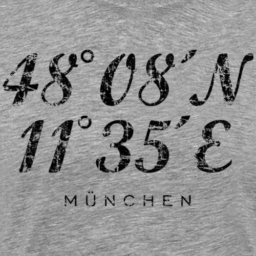 Münchener Koordinaten München (Vintage Schwarz) - Männer Premium T-Shirt