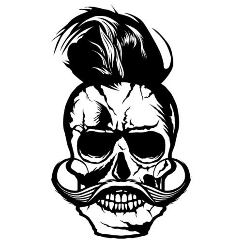 tete de mort hipster skull crane moustache moustac - T-shirt Premium Homme