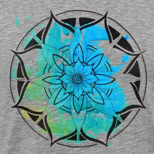 Mandala aquarell blau, intuitiv und handgemalt - Männer Premium T-Shirt