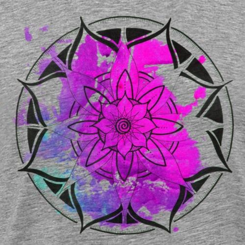 Mandala mit aquarell in pink handgemalt - Männer Premium T-Shirt