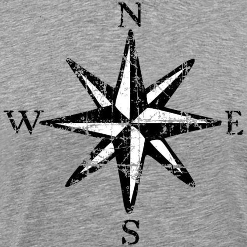 Windrose Segel Segeln Segler Vintage Schwarz-Weiß - Männer Premium T-Shirt