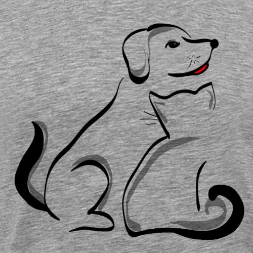 Pies i kot - Koszulka męska Premium