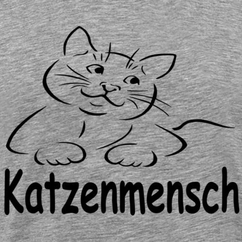 Katze mit Schriftzug Katzenmensch - Männer Premium T-Shirt