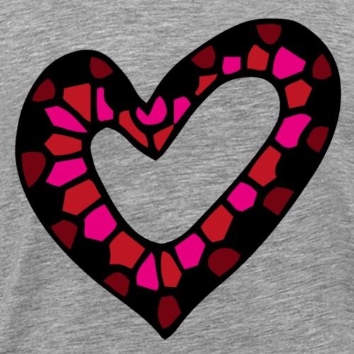 Herz Mosaik Buntglas - Männer Premium T-Shirt