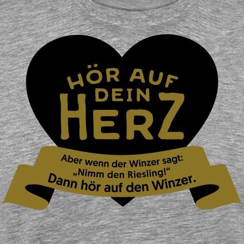 Wein Herz schwarzgold - Männer Premium T-Shirt
