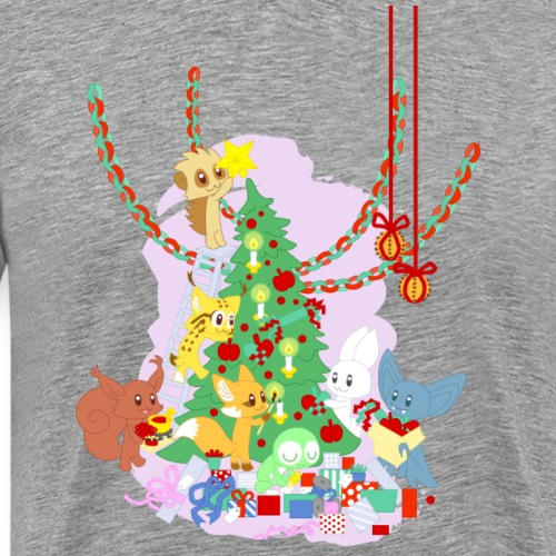 Dressing the Yule Tree - cartoon animals - Premium-T-shirt herr